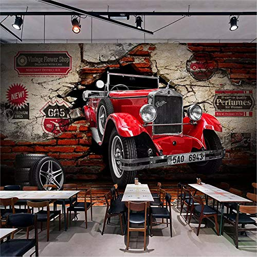 MGMMural Mural Custom 3D Photo Theme Red Fashion Car Pattern 400X280Cm Child Self-Adhesive Wallpaper Fresco, Non-Woven Material, Wall Stickers Children Boys Girls Bedroom Nursery Sofa Tv Background Wa