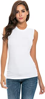 Women Long Sleeve/Sleeveless Turtleneck/Mock/Crew Neck Fitted Soft Stretchy Layer Tee Top