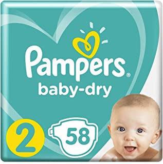 Pampers Baby-Dry Nappies Size 2 Infants, 58 Nappies, 4 to 8kg, Monthly Pack