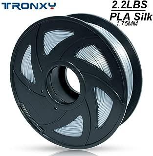 TRONXY 1.75 PLA Filament, Silk PLA Filament, 3D Filament 1KG (2.2 LB) Length 320 Meters, Dimensional Accuracy +/- 0.03 mm, 3D Printer Filament 1.75 mm, More Smooth and Shiny (Silver)