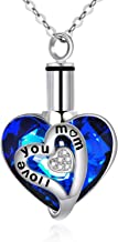 AOBOCO 925 Sterling Silver Urn Necklaces for Ashes Engraved I Love You Pendant Cremation Necklace with Blue Heart Swarovski Crystals Fine Memorial Jewelry