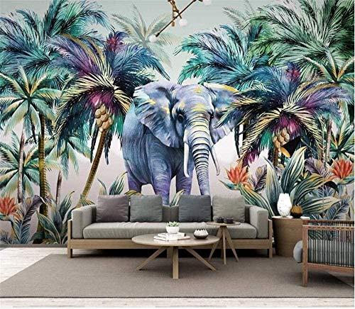 Nordische Wandgemälde handgemalte tropische Pflanzenwaldelefantenlandschaft Hintergrundwandmalerei-200x140cm