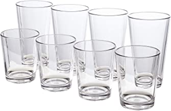 Bistro Premium Quality Clear Plastic Tumblers   set of 8   four 15-ounce and four 20-ounce