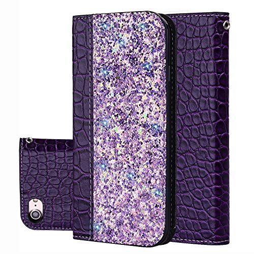 Black Sales Friday Deals Cyber Sales Monday Deals Week-iPhone 8 Wallet Case,iPhone 7 Cover [Bling Glitter Shiny] Leather Flip Folio Case Kickstand Credit Card/ID Slots(Purple-iPhone 8/7)