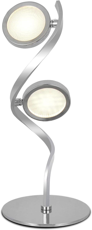 SPARKSOR LED Nachttischlampe, Spiraltischlampen Moderne geschwungene LED-Schreibtischlampe, 10 W, warmweies Licht, minimalistische Nachttischleselampe für Büro, Chrom [Energieklasse A]