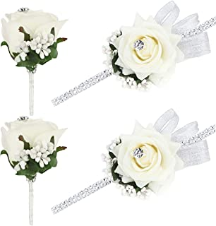FAYBOX Wedding Prom Velvet Rose Rhinestone Corsage and Boutonniere Set With Silvery Ribbon Stretch Bracelet (Ivory2)
