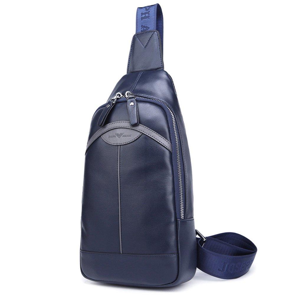 Zhuoファンアマニブティックメンズバッグチェストバッグレザー牛革韓国語バッグショルダーバッグメッセンジャーバッグ小さな袋の潮(青)