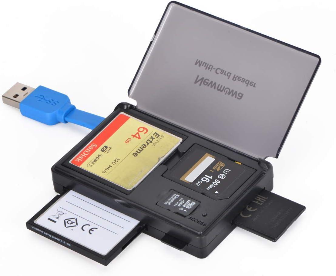 Newmowa 3-in-1 Portable USB 3.0 Memory Card Reader for SD/SDHC/SDXC/CF/CFI/TF/MS/XD/T-Flash/MMC/RS-MMC/UHS-I,Camera Memory Card for Mac OS,Windows,Linux,Chrome