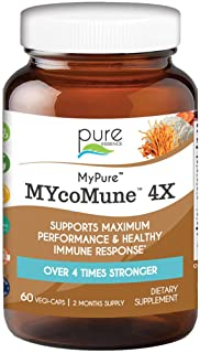 Pure Essence Labs MYcoMune 4X Organic Mushroom Supplement - Reishi, Lions' Mane, Cordyceps, Chaga, Shiitake for Immune Sup...