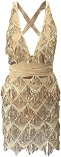 CBTLVSN Women Deep-V-Neck Mini Beaded Sequin Glitter Nightclub Halter Party Bodycon Sexy Dres