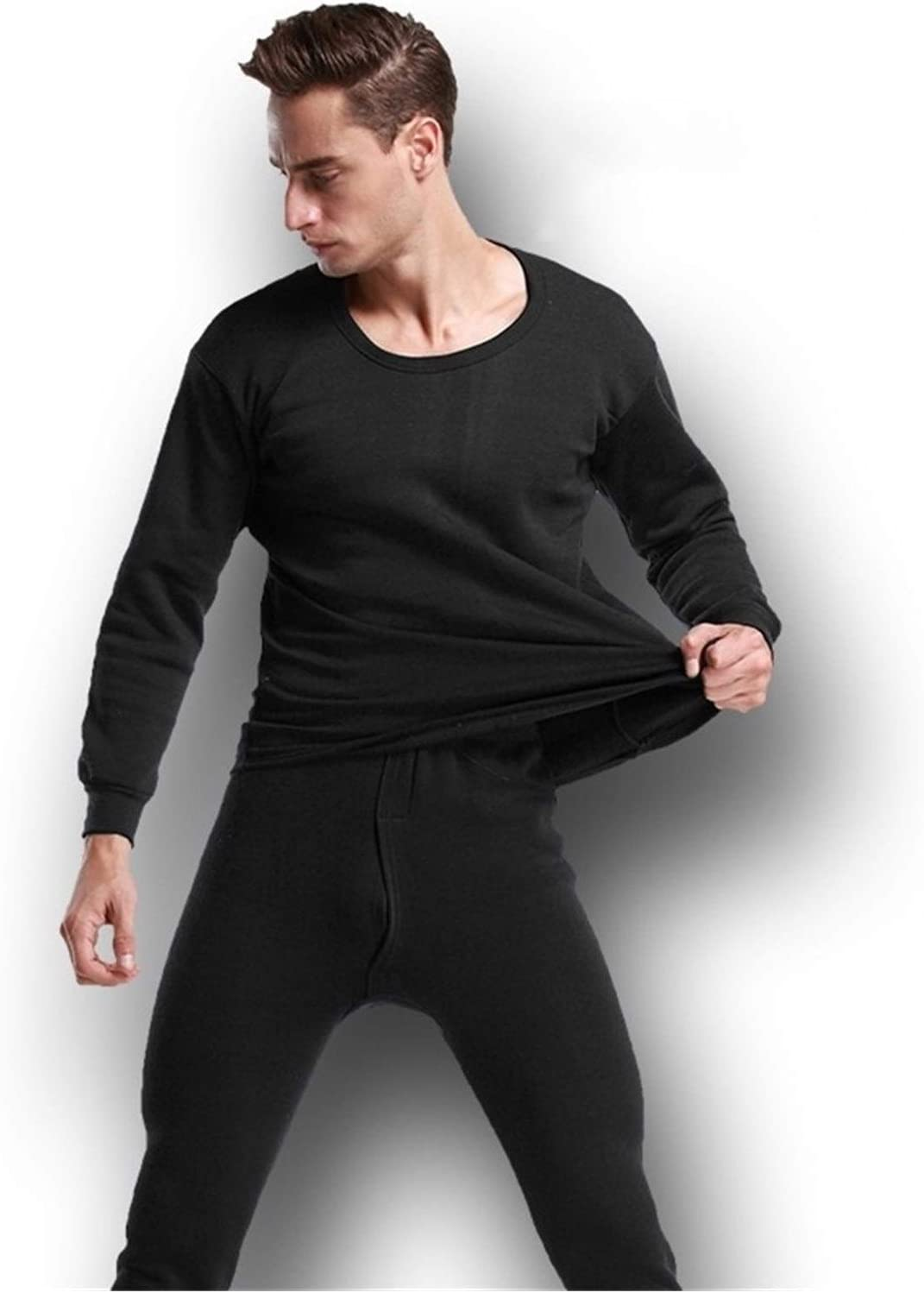 QWERBAM Thermal Underwear Sets for Men Winter Thermo Underwear Winter Clothes Men Thick Thermal Clothing Solid (Color : Black, Size : Medium)