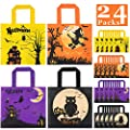 Halloween Treats Bags Party Favors - 24 pack Non-Woven Halloween Tote Gift Bags for kids Trick or Treat Bags, Reusable Candy Bags Goodie Bag for Halloween Party Supplies(4 Pattern)