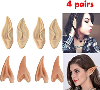 Latex Elf Ears, 4 Pair Fairy Pixie Elf Ears Pointed Prosthetic Ear Elven Ears Cosplay Accessories Party Favor