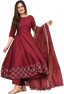 Monika Silk Mill Women's Cotton Silk Semi-Stitched Salwar Suit (Style990_Maroon_Free Size)