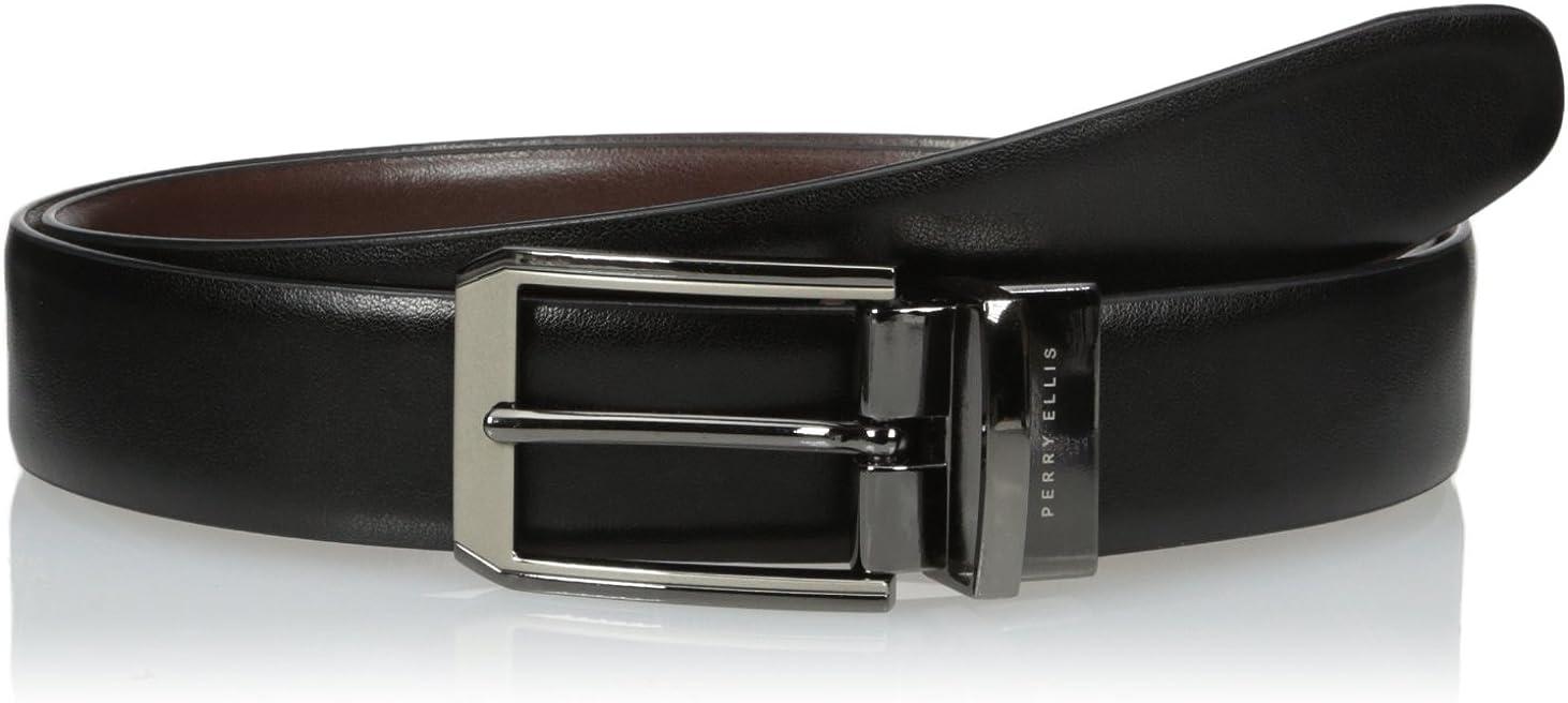 Perry Ellis Portfolio Men's 2-Tone Matte and Shine Buckle Reversible Belt