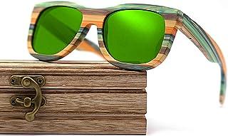 CZA - CZA Hecho a Mano para Hombre de Las Gafas de Sol de bambú del Brazo de Madera con Patas de Madera y Lentes polarizadas Gafas de Madera,Coated Green