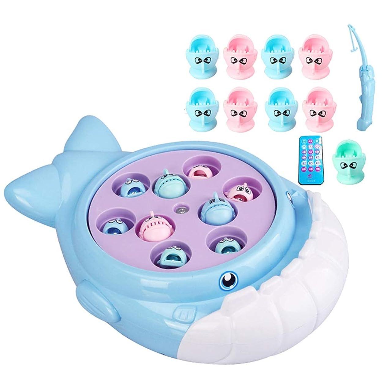 更新実り多い離れてXyanzi 子どもおもちゃ 子供用釣り玩具、単層回転ボード付き釣りゲーム玩具セットには、9個の魚と1個の釣り竿が含まれています(電池は含まれていません) (Color : A)