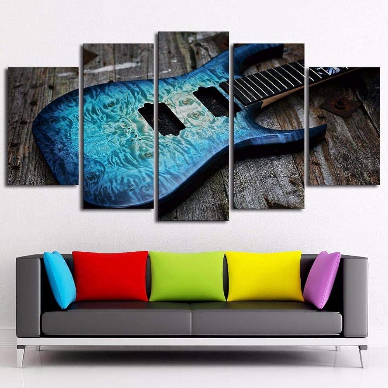increíbles descuentos WEMUR Arte de la Parojo Parojo Parojo Marco de póster Modular Impresión en HD 5 Paneles Guitarra música Moderno salón Imagen decoración del hogar Lienzo Imagen 20X35_20X45_20X55cm_with_Frame  productos creativos