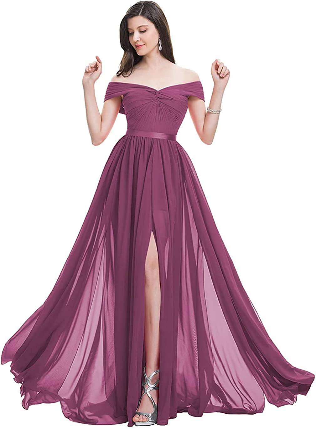 Women's Bridesmaid Dresses for Wedding Off The Shoulder Formal Party Chiffon Evening Gowns Long Prom Dress with Slit
