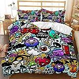 Juego de cama con funda nrdica de graffiti hip-hop en color 3D, cama individual para adultos y...