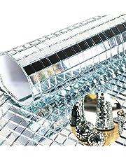 Meboom 2400st Zelfklevende Ambachtelijke Spiegels Mozaïek Tegels Mini Zilver Vierkant Glas Sticker,5mm bij 5mm