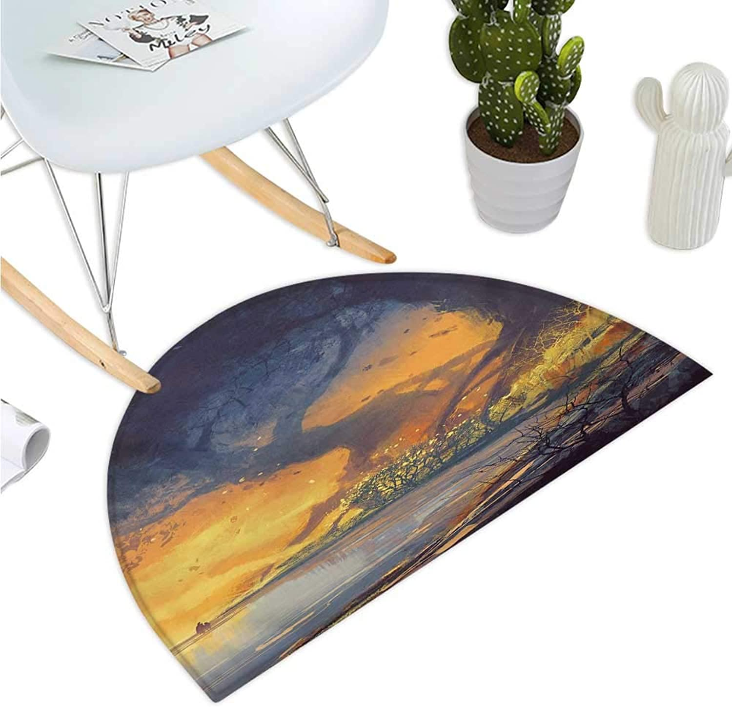 Fantasy Semicircular Cushion Artistic Landscape Painting of Big Trees with Huge Roots at Sunset Beach Seaside Bathroom Mat H 43.3  xD 64.9  orange bluee