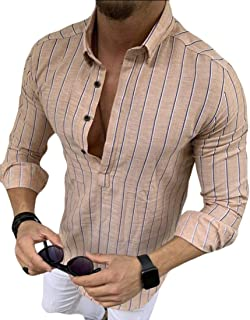 Mens Long Sleeve Striped Polo Shirt Casual Slim Fit Blouse Tops