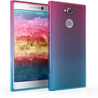 kwmobile TPU Silicone Case for Sony Xperia XA2 - Crystal Clear Smartphone Back Case Protective Cover - Dark Pink/Blue/Transparent
