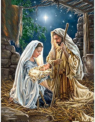 JONJUMP 35 x 45 cm cuadrado taladro bordado nacimiento de Jesús pintura punto de cruz Rhinestone mosaico decoración regalo