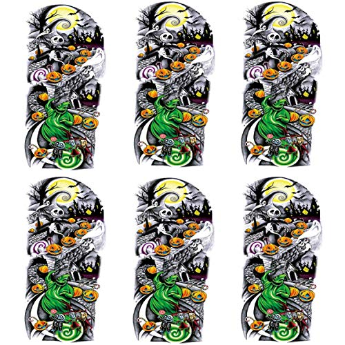 Kotbs 6 Sheets Nightmare Before Christmas Half Arm Temporary Tattoos Temporary Sleeve Tattoos for Men Women Fake Body Art Arm Tattoo Body Tattoo Stickers for Kids Adults