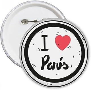 DIYthinker I Love Paris Mots Motif Bouton rond Badge Pins Vêtements Décoration cadeau 5pcs S Multicolore