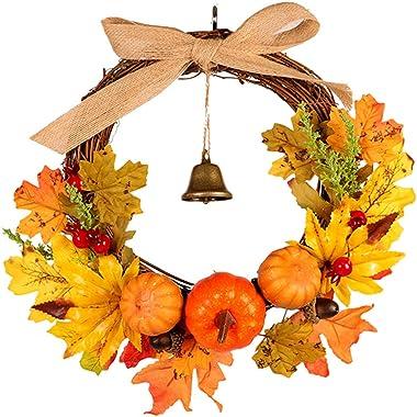 AQUAROBO Window Christmas Decorations, Rattan Rings, Bells, Maple Leaves, Pumpkins, Door Hangers, Thanksgiving Autumn Wreaths