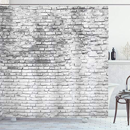 Ambesonne Brick Wall Shower Curtain, Worn and Cracked Grunge Stained Brick Wall Masonry Architecture Image Print, Cloth Fabric Bathroom Decor Set with Hooks, 70' Long, White Grey