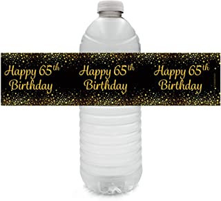 Black and Gold 65th Birthday Party Water Bottle Labels - 24 Stickers