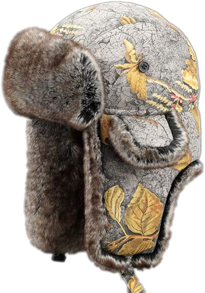 Cozomiz Unisex Winter Trapper Bomber Hat with Ear Flaps & Faux Fur Ushanka Aviator Hat Eskimo Hat