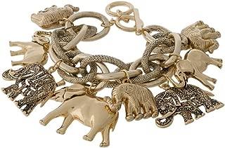 Elephant Link Statement Bangle Bracelet
