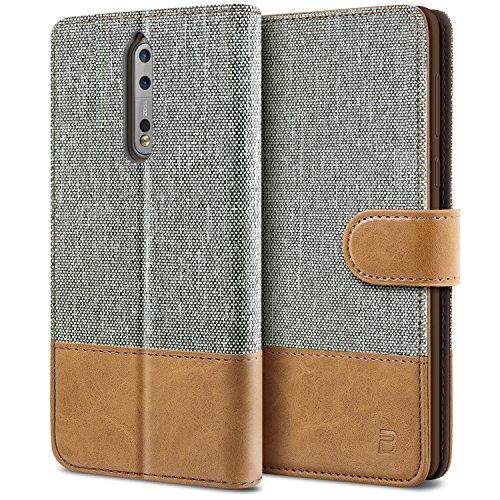 BEZ Hülle für Nokia 8 Handyhülle, Schutzhülle Kompatibel für Nokia 8 Hülle Handytasche Tasche [Stoff & PU Leder] mit Kreditkartenhaltern, Grau
