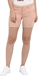 KVL Womens Cotton & Elastane Woven Regular Fit Solid Shorts - Pink