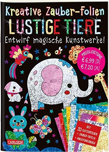 Kreative Zauber-Folien: Lustige Tiere: Set mit 10 Zaubertafeln, 20 Glitzerfolien und Anleitungsbuch: Kinderbeschäftigung ab 5