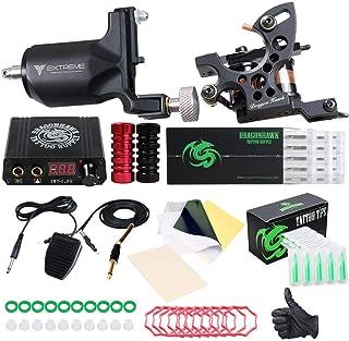 Dragonhawk Extreme Tattoo Kit 2 Pro Tattoo Machines Rotary Machine Coil Gun Power Supply Disposable Needles Tip Foot Pedal...