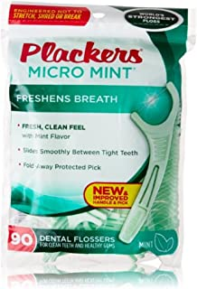 PLACKERS Micro Mint Freshens Breath, Dental Flossers Mint 90 Each (Pack of 2)