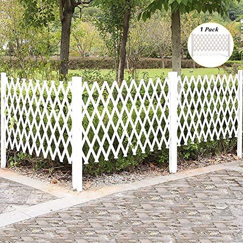 Holzgarten Streikposten Zaun Rand, Ausziehbare Landschaft Dekorative Grenze Zaunplatte, Blumenbeet Tierbarriere für Rasen Terrasse im Freien, Weiß (Size : 250×120cm (98.4×47.2in))