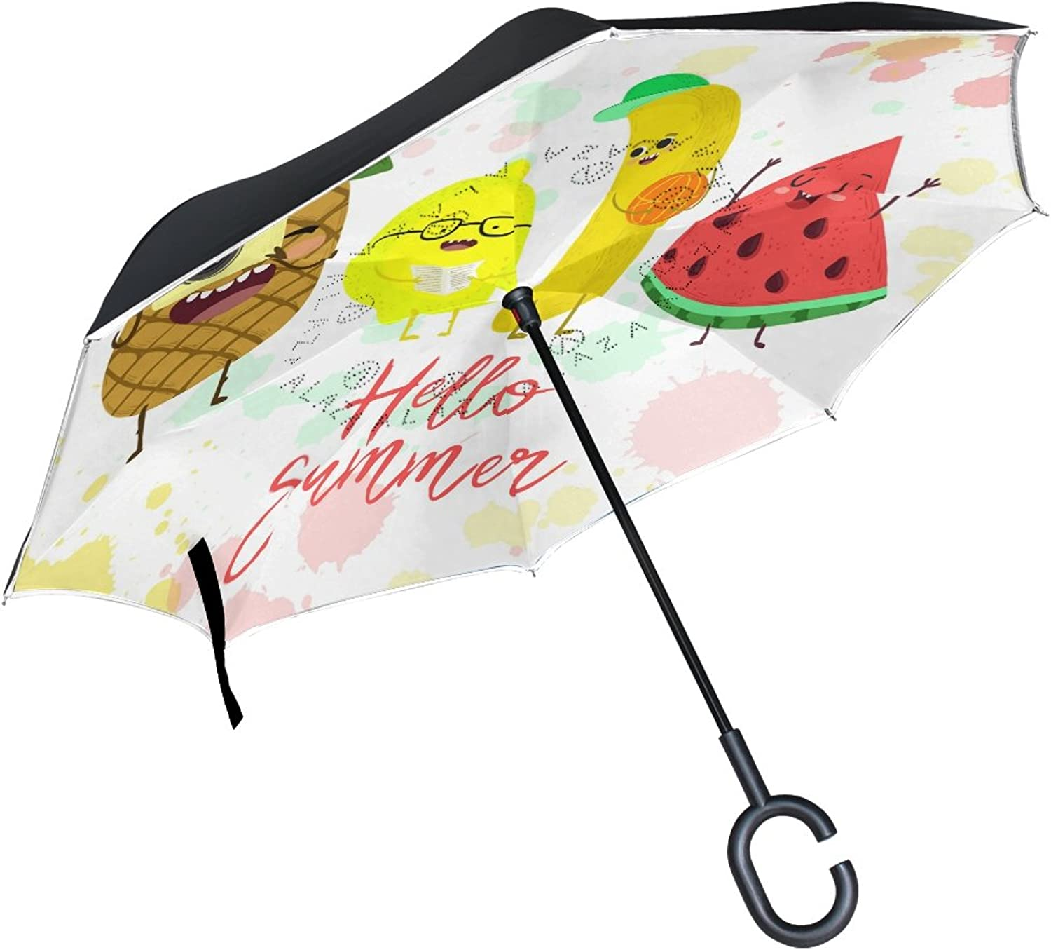 FOLPPLY Ingreened Umbrella Hello Summer Cute Fruit Pineapple Design,Double Layer Reverse Umbrella Waterproof for Car Rain Outdoor with CShaped Handle