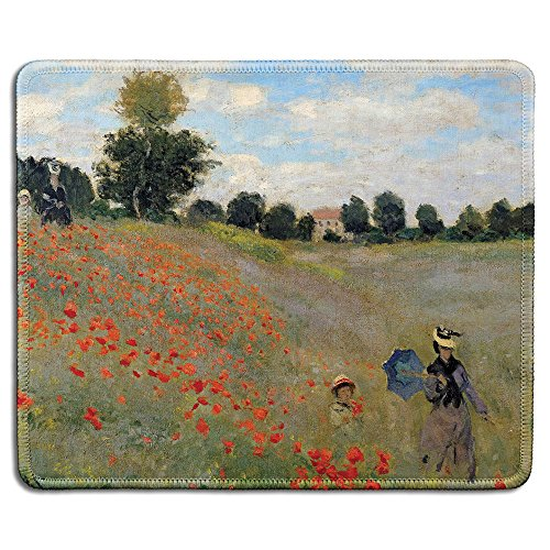 dealzEpic - Art Mousepad - Natural Rubber Mouse Pad with Famous Fine Art Painting of Poppy Field by Claude Monet - Stitched Edges - 9.5x7.9 inches