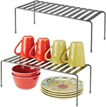 mDesign Modern Metal Storage Shelf Rack - 2 Tier Raised Food and Kitchen Organizer for Cabinets, Pantry Shelves, Countertops Dishes, Plates, Bowls, Mugs, Glasses, 2 Pack - Graphite Gray