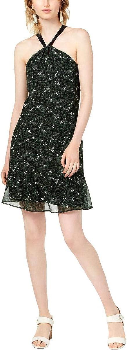 Maison Jules Womens Halter Flower Flounce Dress