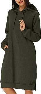 Women's Hoodie Long Tunic Dress Solid Pullover Loose Sweater Hoodie Sweatshirt Long Tops