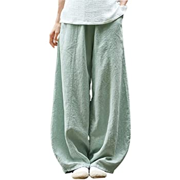 Yaolor Men Elastic Waist Casual Cotton Linen Cropped Harem Pants Trousers