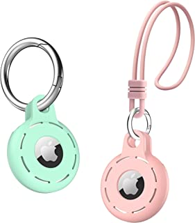 Migeec Compatible with AirTag Case 2 Pack Soft Silicone Case with Keychain and Wrist Strap Anti-Scratch Shockproof Durable...