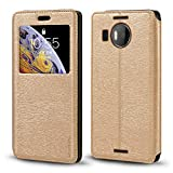 Microsoft Lumia 950 XL Case, Wood Grain Leather Case with